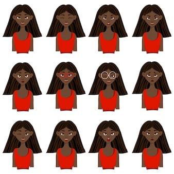 表情や感情の異なる浅黒い肌の女性キャラクターが登場。漫画のスタイル。ベクトルイラスト。