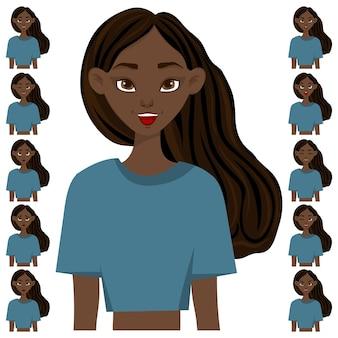 表情や感情の異なる女性キャラクターをセット。漫画のスタイル。ベクトルイラスト。