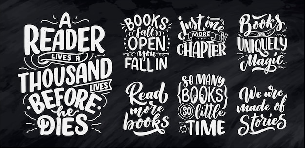 Set with abstract lettering about books and reading for poster design
