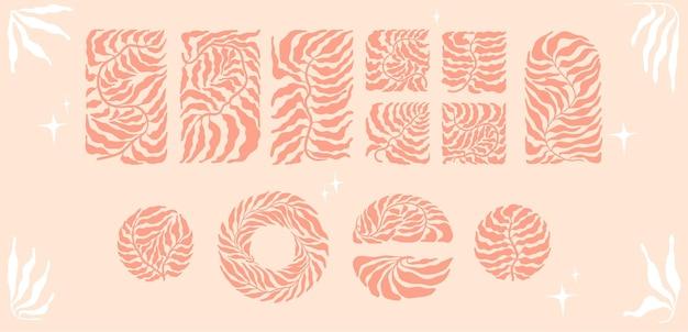 세기 중반 스타일의 추상 미니멀리스트 boho 유행 잎으로 설정합니다. 손바닥의 실루엣은 정사각형, 원형, 반원형, 흙 팔레트의 직사각형에 남습니다.