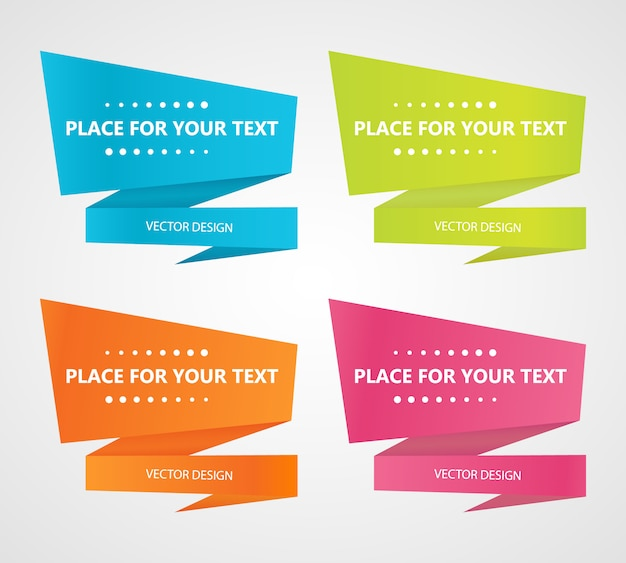 Set with abstract origami speech bubbles on background
