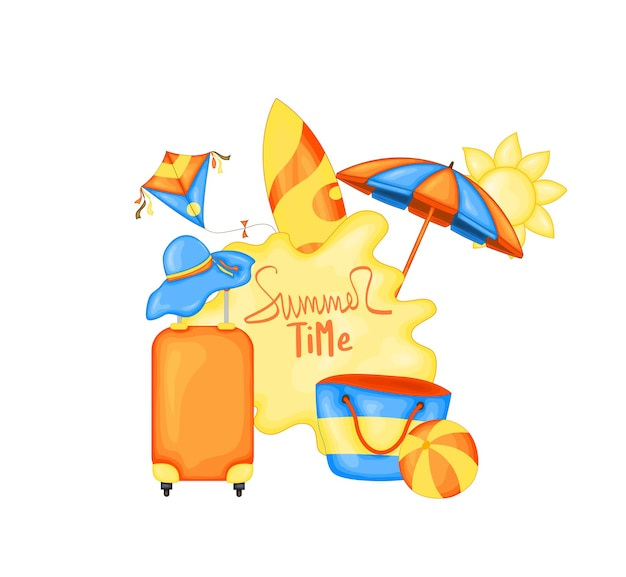 Set with beach accessories and a suitcase. cartoon style. Premium Vector