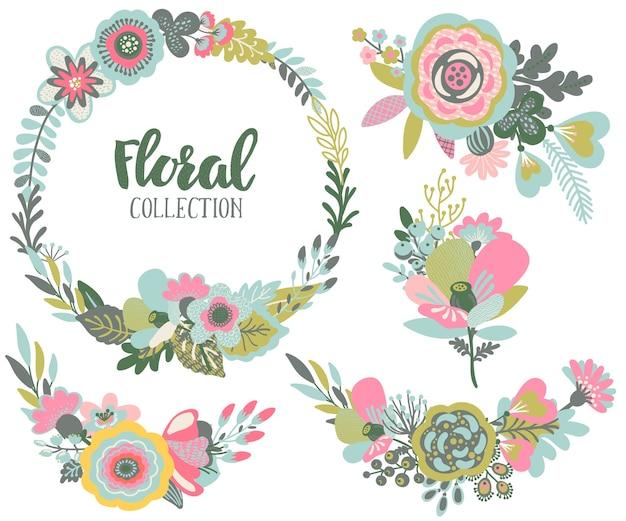 아름다운 꽃, 꽃 화환, 꽃다발로 설정합니다.