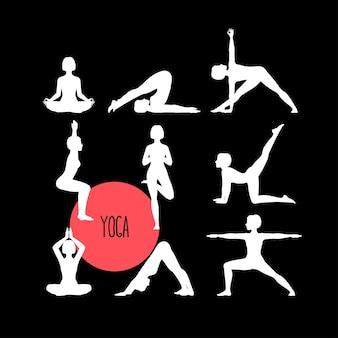 Набор с красивой женщиной, осуществляющей йогу. различные позы йоги.