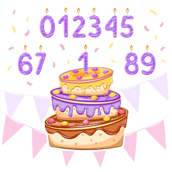 Set with birthday cake and age candles for boy birthday, baby shower card, banners, posters designs. illustration.