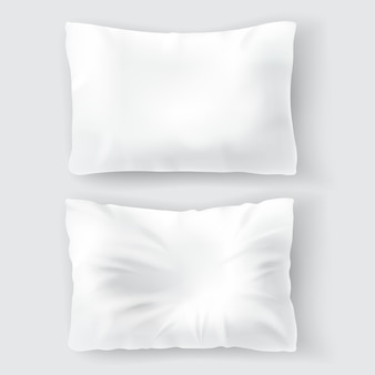 Set with blank white pillows, comfortable, soft, clean and crumpled