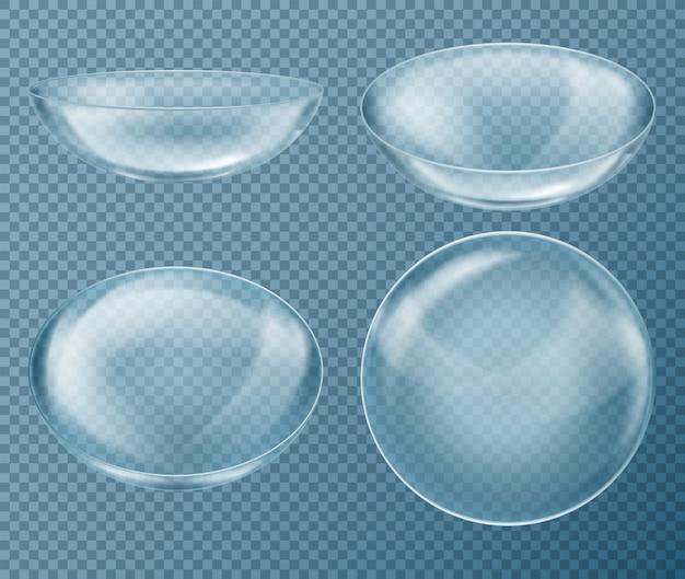 투명 배경에 고립 된 눈 관리를 위해 파란색 콘택트 렌즈로 설정하십시오. 의료 장비
