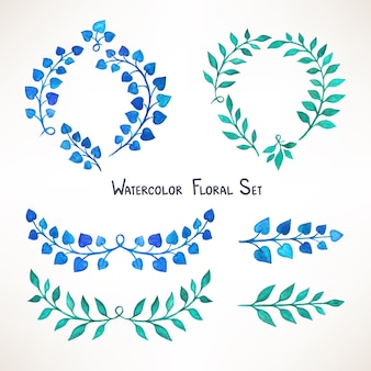 Set with a branch with watercolor blue and green leaves