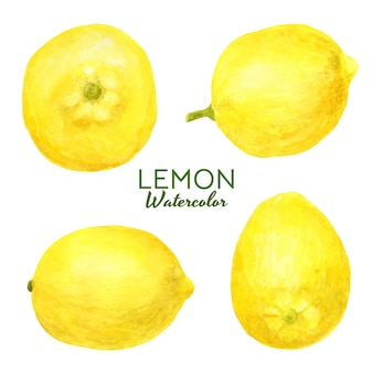 Set with bright watercolor lemons