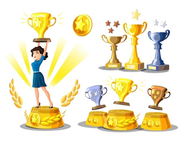 Набор с бизнес-леди стоит на пьедестале победителей с золотой чашкой и подиумом победителей с чашками. призы для чемпионов. золотые, серебряные и бронзовые кубки