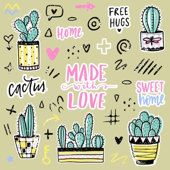 Set with cactuses, positive phrases, elements. cute vector cactus.