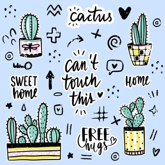 Set with cactuses, positive phrases, elements.