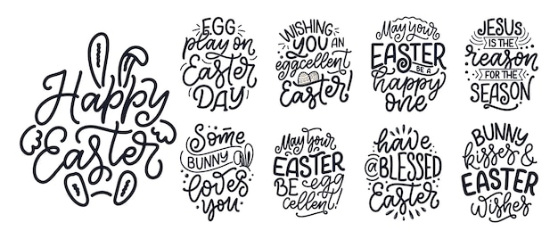 Set with calligraphy lettering slogans about easter for flyer and print .