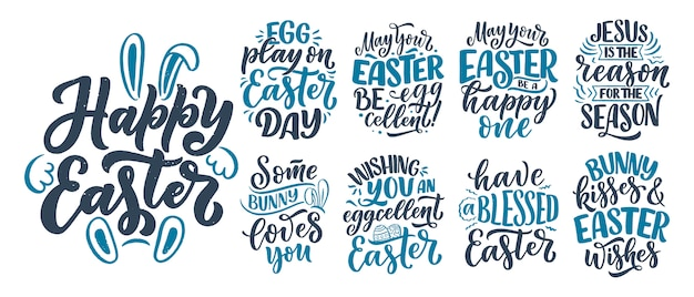 Set with calligraphy lettering slogans about easter