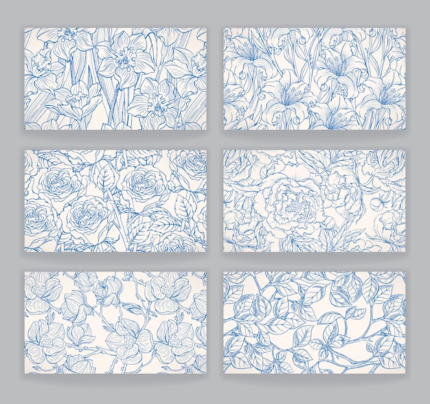 Set with the cards with beautiful blue floral patterns