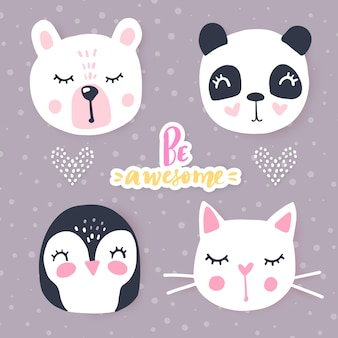 Set with cartoon animals  panda, cat, bear, bunny. adorable animals and inscriptions.