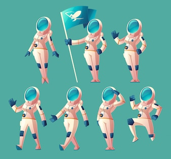 Set with cartoon astronaut girl in spacesuit and helmet, in different poses, holding flag