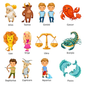 Set with cartoon zodiac signs.