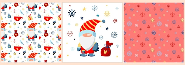 Set with christmas gnome in a red suit with christmas gifts snowflakes and stars posterpattern