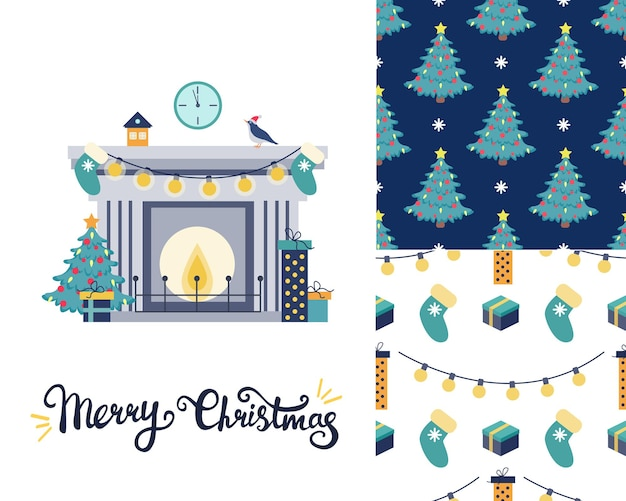 Set with christmas greeting card fireplace with christmas tree and gifts two christmas patterns