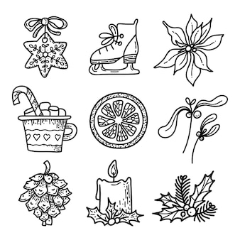 Set with christmas and new year items vector black sketch