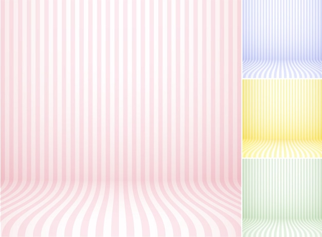 Set with colored striped backgrounds - pink blue yellow and green