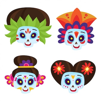 Set with colorful sugar skulls for day of the dead or halloween with flowers in a cartoon style.