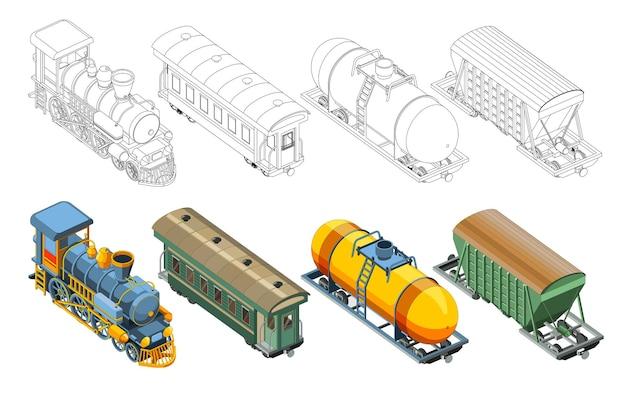 ぬりえとカラフルな蒸気機関車、客車、貨車、貨車キャニスターがセットになっています。ヴィンテージレトロな電車のグラフィックベクトル。白い背景で隔離
