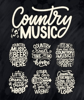 Set with country music lettering quotes for festival live event poster