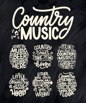 Набор с кантри-музыкой надписи цитаты для фестиваля живого события плакат