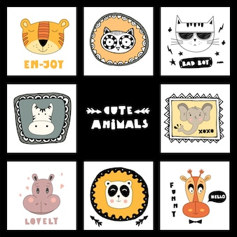 Set with cute animals faces and lettering cute animals!