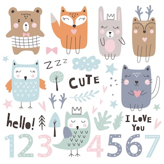 Набор с милыми животными, числами и элементами дизайна. детский праздник. ручной обращается стиль.
