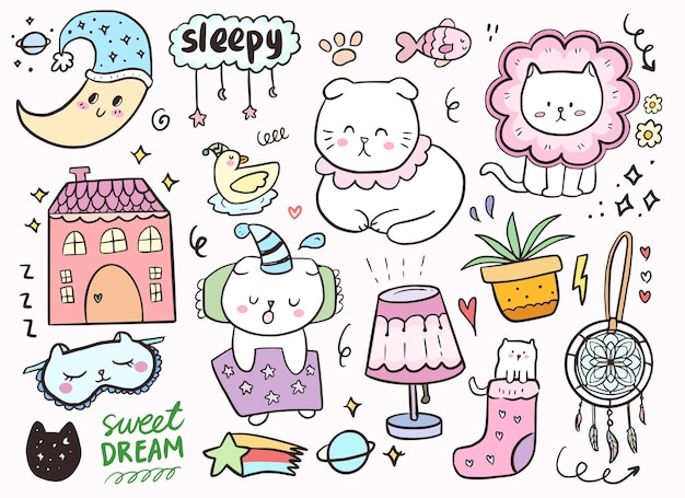 Set with cute cat sleeping. cat cartoon doodle drawing with moon and houses.
