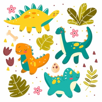 Set with cute dinosaurs leaves in cartoon style