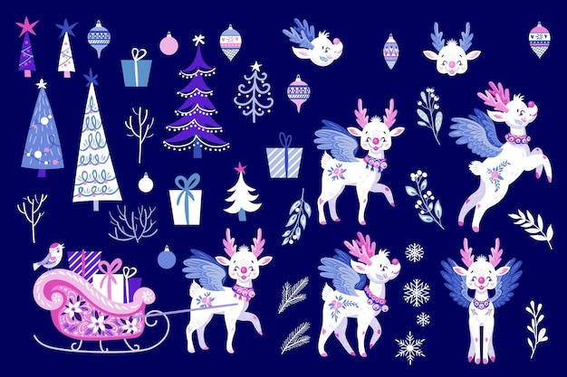 Set with cute fairy deers and christmas trees