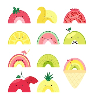 귀여운 과일 무지개와 함께 설정합니다. 다채로운 과일, 아이스크림, 칵테일 캐릭터. 수박, 사과, 파인애플, 석류, 레몬, 체리, 키위, 바나나, 딸기 조각으로 된 삽화. 벡터
