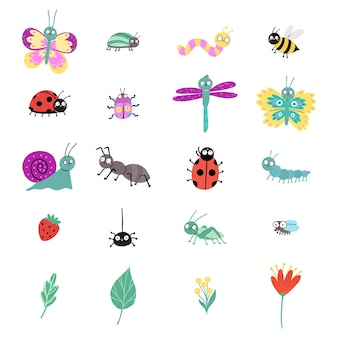 Набор милых насекомых, изолированные на белом фоне. божья коровка, бабочка, улитка, стрекоза, жук, паук, гусеница, червь, муха, пчела, муравей.