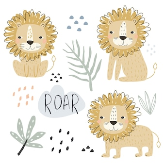 A set with cute lion animals and decorative elements for printing vector illustration