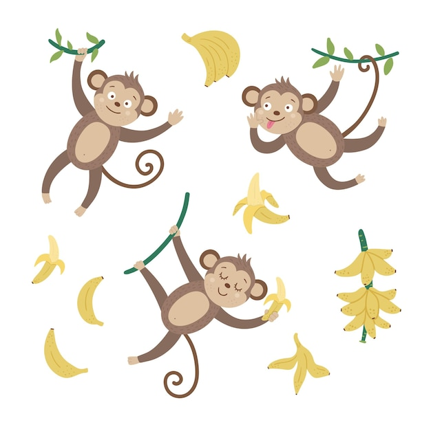 Set with cute monkeys with bananas isolated on white background