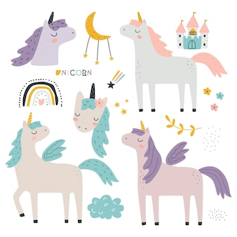 Set with cute unicorns and decorative elements on a white background vector illustration