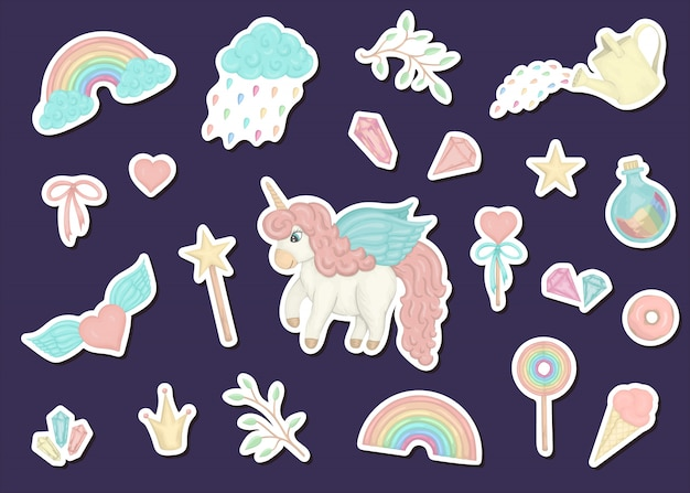 Set with cute watercolor style stickers with unicorns, crown, crystals, hearts., patches.