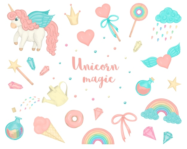 Set with cute watercolor style unicorns, rainbow, crystals, hearts.