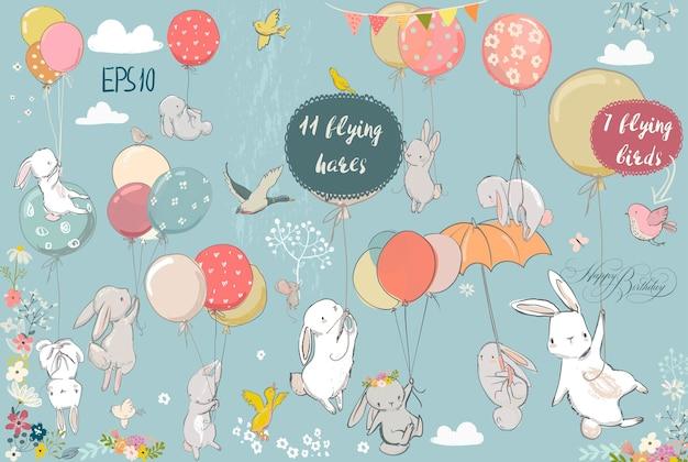 Набор с милыми белыми летающими зайцами и птицами