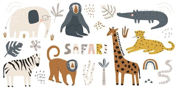 귀여운 야생 동물 코끼리 악어 표범 기린과 원숭이 벡터 일러스트와 함께 설정