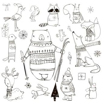 かわいい冬の漫画の動物を設定します。ベクトルイラスト