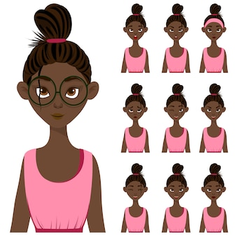 Set with a dark-skinned female character in pink clothes with different facial expressions.