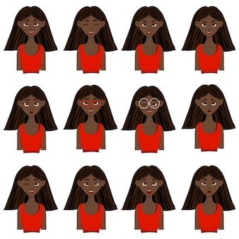 Set with a dark-skinned female character with different facial expressions and emotions. cartoon style.