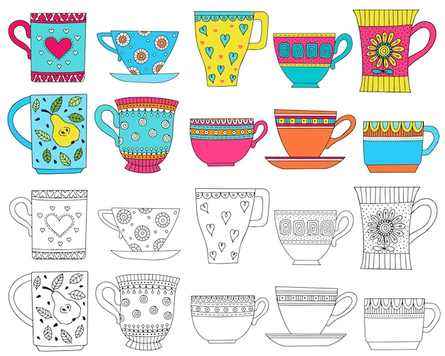 Set with decorative cups illustration