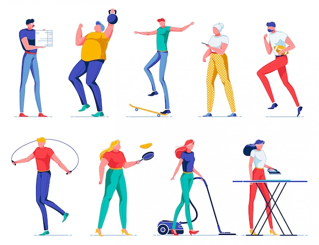 Set with different flat people, household, sport.