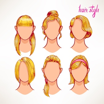 Set with different hairstyles. blonde. hand-drawn illustration